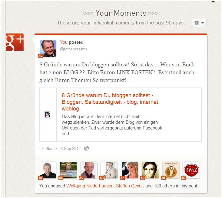 Interaktion mit 186 GooglePlus User Klout Auswertung Andreas-Prokop