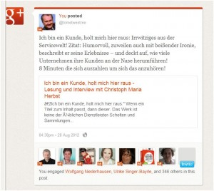 Auswertung Klout Moments Google+.